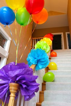 Railways up the stairs of my church! perfect for getting the rainbow in the church decor! Minus the balloons.