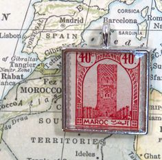 Vintage Morroco Postage Stamp Maroc Necklace Pendant Key Ring by 12be on Etsy