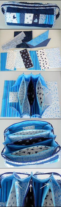"my projects: sew together bag pay-for pattern from http://www.craftsy.com/pattern/sewing/accessory/sew-together-bag/36309 this tutorial helped a lot: http://www.quiltbarn.blogspot.com/2014/03/sew-long.html borrowed someone's idea to cut zippers to 8 3/4"" and put tabs on them - much easier to sew sides!"