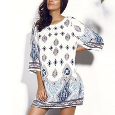 O Neck Half Sleeve Casual Short Bohemian Dress    https://zenyogahub.com/collections/clothing/products/o-neck-half-sleeve-casual-short-bohemian-dress