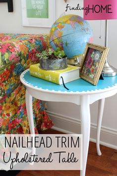 Jazz up a table with nailhead trim! www.findinghomeonline.com