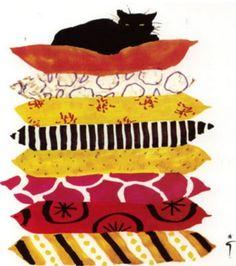 """Le chat qui se prend pour """"la princesse au petit pois"""". Illustration de René Gruau (1909-2004)."""