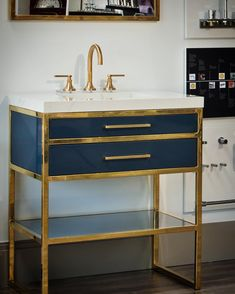 New winston vanity in burnished brass and walnut i spy the furniture guild pinterest for Furniture guild bathroom vanities