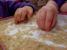 Foundation Stage Two blog - Finger Gym activity. Picking out the lentils from the rice
