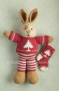 knitted bunny in organic alpaca and merino mix yarn Knitted Stuffed Animals, Knitted Bunnies, Knitted Animals, Knitted Dolls, Crochet Toys, Animal Knitting Patterns, Amigurumi Patterns, Rabbit Crafts, Little Cotton Rabbits