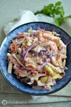 Ensalada de col con manzana www.pizcadesabor.com