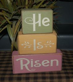He Is Risen Religious Easter Primitive Word Blocks Sign Distressed Stacking…