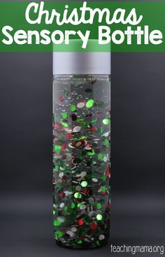 Christmas Sensory Bottle Here's a fun sensory bottle that your kids will LOVE to shake and watch! It's our Christmas sensory bottle and it has a special ingredient! Here's what we used in the bottle: plastic Voss water bottle Sensory Tubs, Sensory Boards, Sensory Bottles, Baby Sensory, Sensory Activities, Sensory Play, Infant Sensory, Sensory Therapy, Classroom Activities