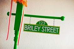 Personalized Sesame Street Inspired Birthday Party Street Sign in GREEN - As seen on Hostess with the Mostess and NBC's iVillage Sesame Street Signs, Sesame Street Party, Sesame Street Birthday, 1st Birthday Girls, First Birthday Parties, First Birthdays, Birthday Ideas, Happy Birthday, Elmo Birthday Invitations