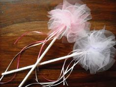 fairy wand --now these are super easy to make. I already have the dowels and Cory has the pink tule!