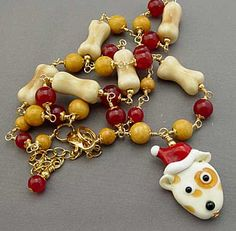 Dog Bone Jewelry Santa Puppy Christmas Gift Necklace