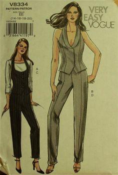 Halter Vest & Pants  2000's  Very Easy Vogue by patterntreasury, $21.95