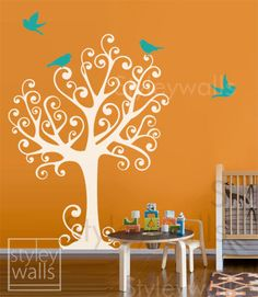 Ornamental Tree with Birds - Large - ON SALE - Vinyl Wall Decal for Nursery Kids Room. $79.00, via Etsy.