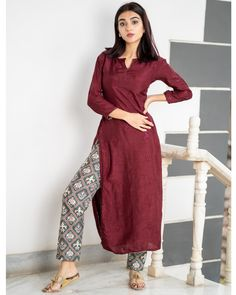 Maroon embroidered kurta with patola pants - set of two by the weave story the secret label Simple Kurta Designs, Kurta Designs Women, Latest Kurti Designs, Indian Designer Outfits, Indian Outfits, Designer Dresses, Dress Paterns, Casual Indian Fashion, Kurta Neck Design