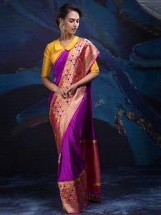 Purple and Beige Banarasi Silk Saree with Weaving Work Brocade Blouse Designs, Blouse Designs High Neck, Blouse Patterns, Saree Blouse Designs, Drape Sarees, Silk Sarees, Half Saree Lehenga, Sari, Saree Dress