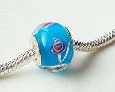 Blue Turquoise European Charm Bead Style Glass by BijiBijoux, $3.85