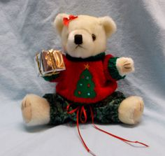 Newest Teddy Bear Gift at Bear Family Gifts, Merry Christmas Bear in sweater with package
