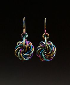 Niobium Eternity Earrings - Chainmaille Kit or Ready Made - Hypoallergenic