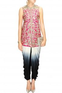 Pink embroidered jacket with shaded dhoti pants
