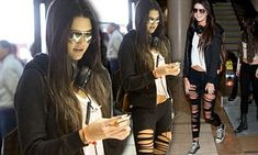 Kendall Jenner takes a walk on the wild side as she slips on a pair of very slashed leggings | Daily Mail Online