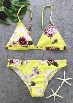 Hit summer beach must-have, cute little floral print bikini set-only $25.99! It is perfect for surfing in the sea or going around near the beach. That's a wonder choice for holiday.