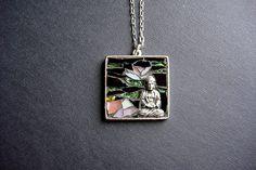 ZEN-Buddha and pink lotus flowers Mosaic Artisan Pendant Necklace