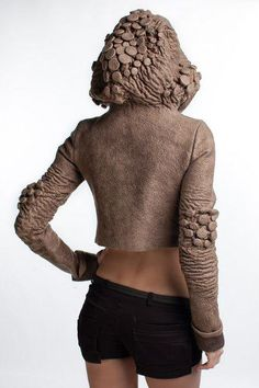 3D Textiles for Fashion - cropped jacket with dimensional textures resembling organic form - fabric manipulation; felted fashion // Diana Nagorna