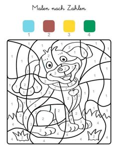 Malen nach Zahlen: Welpe ausmalen zum Ausmalen Color By Numbers, Paint By Number, Coloring For Kids, Coloring Pages, Colouring, Math For Kids, Crafts For Kids, Maternelle Grande Section, Closer To The Sun