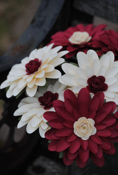 Gerber Daisy Paper Flower Bouquet. Ivory, Red. Or CHOOSE YOUR COLORS. Centerpiece, Wedding, Anniversary, Birthday, Mother's Day, Gift by TreeTownPaper on Etsy