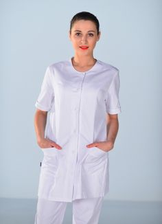 Blouse coupe tunique médicale blanche Clinic Look Nylons, Blouse Nylon, Nurses, Vintage Ladies, Overalls, Button Down Shirt, Men Casual, Buttons, Mens Tops