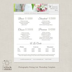 Wedding Photography Package Pricing List Template - Photography Pricing Guide - Price List - Price S Photography Price List, Wedding Photography Pricing, Wedding Photography Packages, Photography Business, Photography Ideas, Hippie Photography, Photography Marketing, Photography Basics, Photography Services