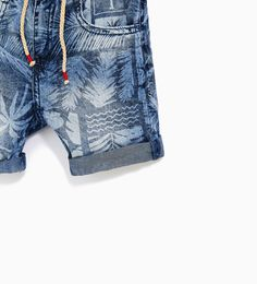 Children and Young Kids Shorts, Boy Shorts, Denim Shorts, Teen Pants, Zara Boys, Palm Tree Print, Printed Denim, Unique Outfits, Swagg
