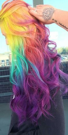 Rainbow purple colors pretty dyed hair @ms_wonderland