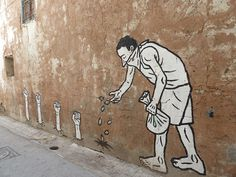 'Zoo Project', a Franco-Algerian graffiti artist based in Paris, visited Tunis in March and April and created images of political struggle. As well as a series of murals, Zoo Project created 40 life-sized figures representing some of the 236 people who were killed in the uprising in Tunisia earlier this year.