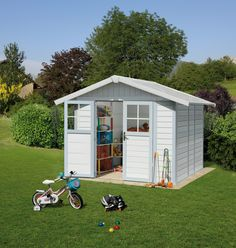 Grosfillex Deco PVC Plastic Shed In White And Pale Green From Greenhouse  Stores.