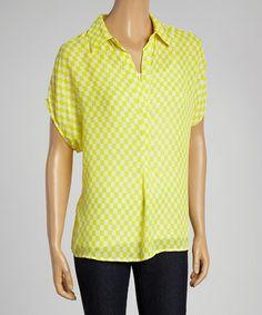 Look what I found on #zulily! Yellow & White Checker Short-Sleeve Top by Larsen Grey #zulilyfinds