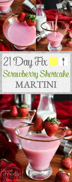 These 100-calorie, 21 Day Fix approved strawberry cocktails are perfect for Valentine's day, but easy enough for any night of the week! Gluten-free, vegan.