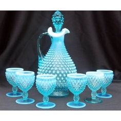 Fenton Blue Opalescent Hobnail Decanter and Wine Goblets Fenton Lamps, Fenton Glassware, Antique Glassware, Vintage Dishware, Vintage Dishes, Purple Vase, Viking Glass, Crystal Decanter, Wine Goblets