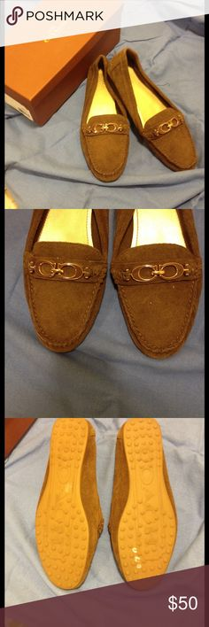 NWT SUEDE COACH LOAFERS NEW IN BOX BROWN COACH LOAFERS, FORTUNATA SUEDE TOP WITH GOLD AND BROWN HARDWARE ACCENT COACH C's. RUBBER BOTTOMS, DRESS UP OR DOWN! Coach Shoes Flats & Loafers