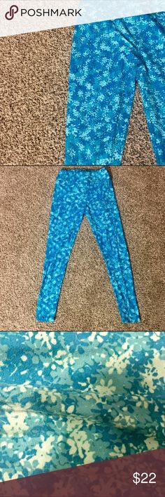 LuLaRoe blue & green patterned leggings EUC. Washed per LLR guidelines. Very, very minimal signs of wear is shown in last photo. Made in Vietnam. Just don't wear these much! LuLaRoe Pants Leggings