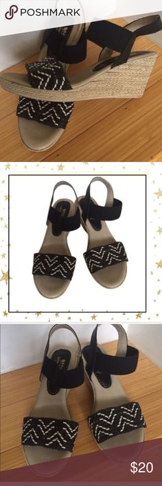 Spring Step Wedges Black with white design wedges. Super light and comfortable. Never worn. Offers welcome. No trade Spring Step Shoes Platforms