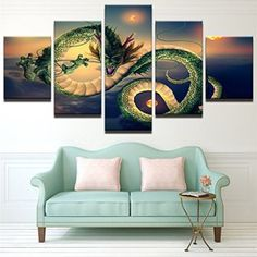 Add elements of fantasy to your home decor theme by using dragon wall art.  indeed dragon wall decor is perfect for game rooms, offices and even living rooms. My favorite dragon wall art are dragon wall hangings, dragon wall clocks, dragon metal wall art, dragon ball wall art, and Chinnese dragon wall art #dragons [Extra Small] Premium Quality Canvas Printed Wall Art Poster 5 Pieces / 5 Pannel Wall Decor Dragon-2 Painting,
