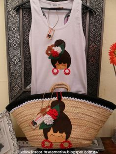 CESTA Y CAMISETA DE FLAMENCAS Sewing Crafts, Sewing Projects, Creation Couture, Straw Tote, Shabby Chic, Crochet Purses, Womens Purses, T Shirt Diy, Handmade Bags