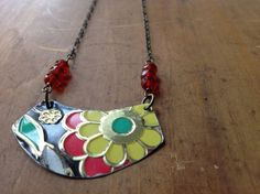 Bright floral tin necklace by giftworldz on Etsy, $26.00