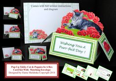 Pop-Up Tabby Cat & Poppies In A Box Card Kit £1.60 and available only from me at https://www.facebook.com/media/set/?set=oa.1504878103089514&type=1