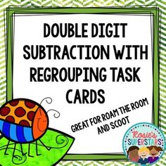 Double digit subtraction with regrouping can be fun with these easy to use task cards. These task cards are an easy to use resource for students to subtract two digit numbers. You can use these easily in a center or for a class of Scoot or Roam the Room.This resource can be used in a number of ways:- Roam the Room- Scoot- independent task cards-  math center- assessmentContents Full color and black and white versions included24 task cards for vertically listed double digit subtraction that…