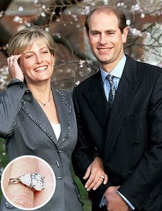 Following in family tradition, Prince Edward also proposed with a ring from the British royal jeweler Garrard. He presented his bride Sophie Rhys-Jones with a two carat oval diamond, flanked by two smaller heart-shaped gems.