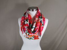 Infinity Scarf in Bright Multicolored Floral Print Handmade Lightweight Scarf Spring Scarf Summer Scarf