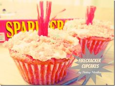 Red Hots, Pop Rocks, and hot sauce in these cupcakes? They are tasty!! Baking Cupcakes, Yummy Cupcakes, Cupcake Cookies, Cupcake Recipes, Cupcake Art, Gourmet Cupcakes, Sugar Cookies, 4th July Cupcakes, Firecracker Cupcakes