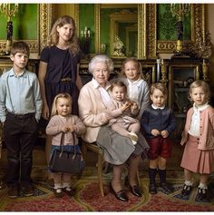 Queen and grandkids (James, Viscount  Severn and Lady Louise Mountbatten-Windsor) and great grandkids (Miss Ilsa and Miss Savannah Philips, Miss Mia Tindall, Prince George and Princess Charlotte)